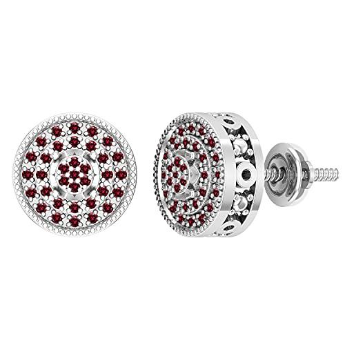 Dazzlingrock Collection Pendientes de tuerca de 0,15 quilates de diamante rojo redondo con borde milgrain en capas de círculo clásico para mujer   oro blanco de 18 quilates