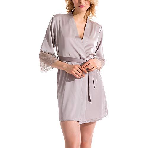 YOYOBABY Silk Robe Women's Pajamas Sexy Bathrobe Dressing Gowns Gray Russian Federation