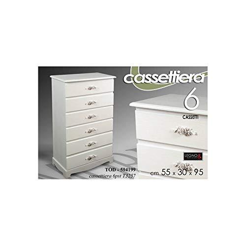 Gicos Mobile Cassettiera Comodino 6 Posti 55X30X95 Cm Design Shabby Chic