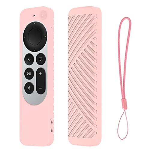 BBABBT Funda con correa de muñeca compatible con Apple TV 4K 2021 TV Control remoto silicona cubierta protectora a prueba de caídas