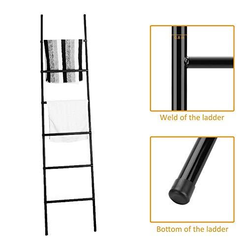Leuning Ladder Rack, Deken Ladder Metaal, Handdoek Planken Sjaals Display Houder met 6 Tier Bar, Deken Opslag Ladder Stander, RVS Ladder Houder voor Woonkamer