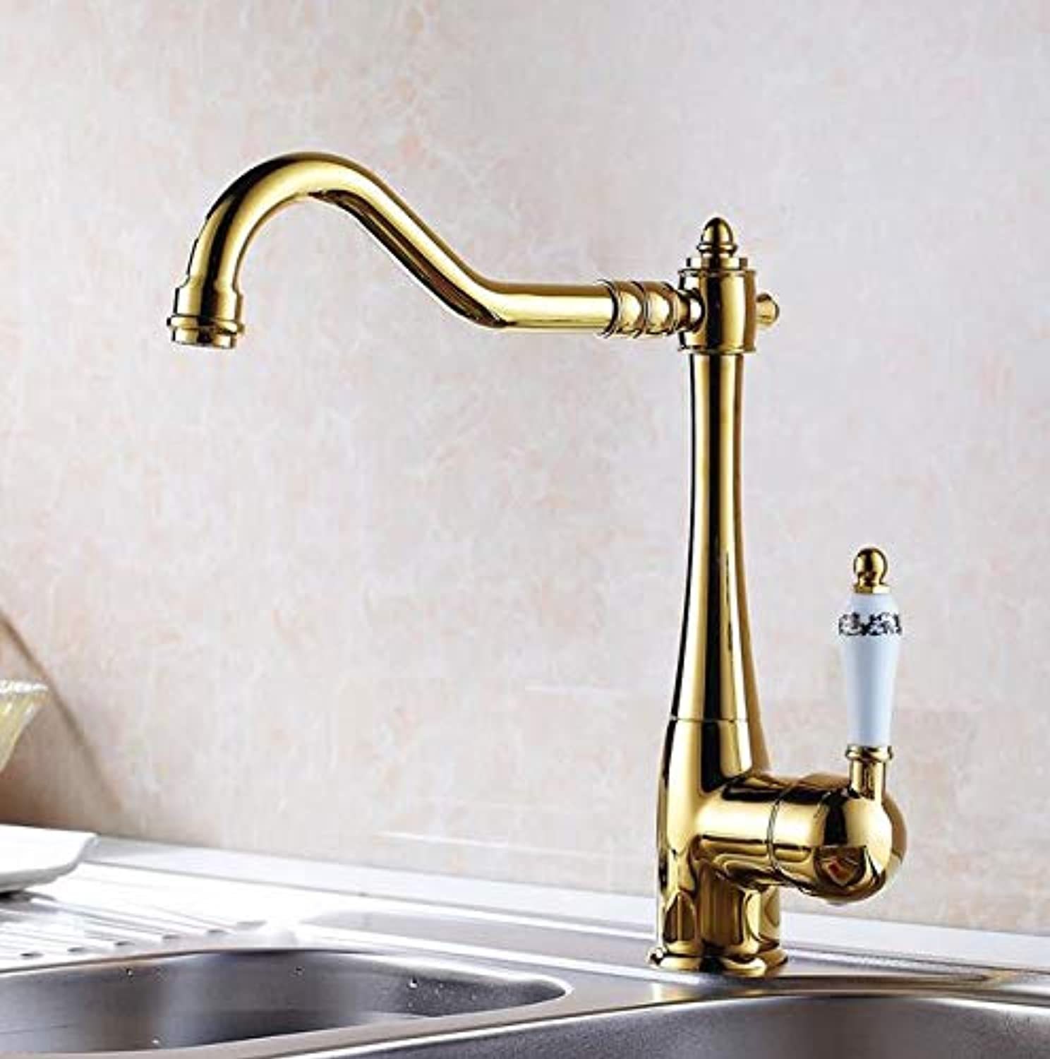 Mkkwp Kitchen Faucets Single Holder Single Hole Kitchen Sink Faucet Swivel Spout Ceramic Handle Chrome Brass Mixer Water Taps