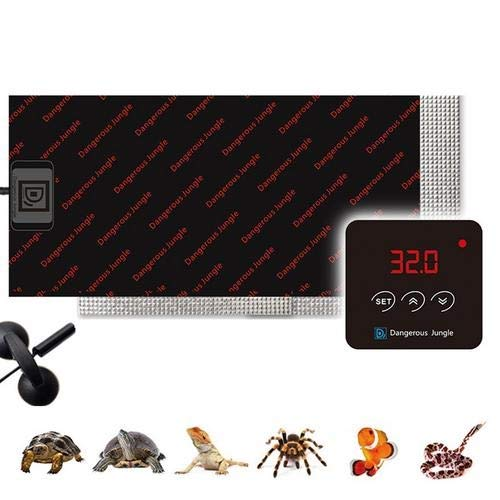 Almohadilla De Calentamiento De Reptiles, 46W Ajustable Tapetes Térmicos para Terrarios con Controlador De Temperatura para Tortuga, Serpientes, Lagarto, Gecko, Araña