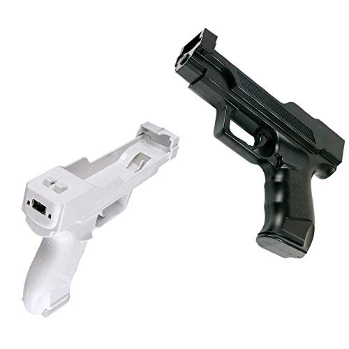 VTone 2 Pieces Wii Motion Plus Gun for Wii Remote Controller Sport Video Game (Black and White)