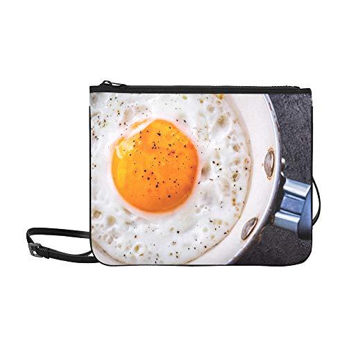 WYYWCY Brateneier Frühstück mit Petersilienmuster Benutzerdefinierte hochwertige Nylon Slim Clutch Bag Cross-Body Bag Umhängetasche