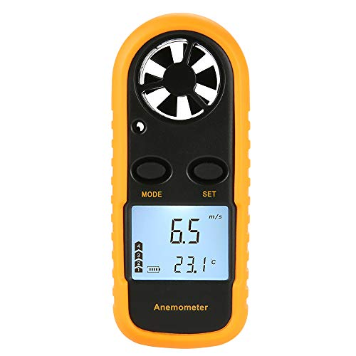 Digital Windmesser ROEAMdigital LCD Wind Speed Meter Gauge Air Flow Geschwindigkeit Messung Thermometer mit Hintergrundbeleuchtung für Windsurfen Kite Flying Segeln Surfen Angeln
