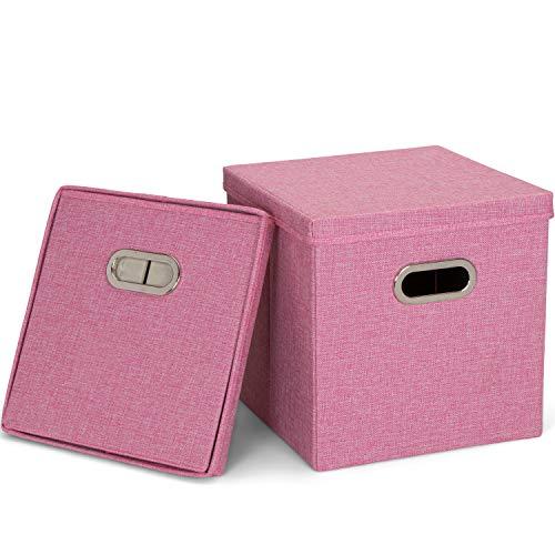 MOOcom! Aufbewahrungsboxen mit Deckel und Metallgriffen 2er Set, Faltbare Ordnungsbox mit Deckel Stoff, Ablageboxen 31x31x31 cm, pink, stabil verstauen und aufbewahren