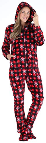 SleepytimePJs Women's Fleece Hooded Footed Onesie Pajama, Red Plaid Snowflake, MED