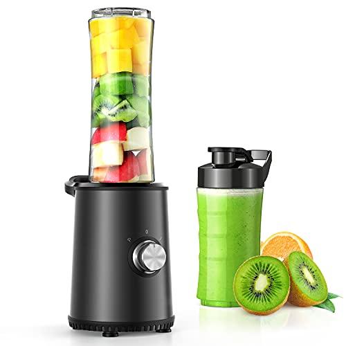 Smoothie Mixer mit 3 Modus, Edelstahl für Smoothie, Shakes, Eis und Tiefkühlfrüchte, Babynahrung, mit 1x600ml & 1x300ml BPA Freie Flasche 350W (Schwarz)