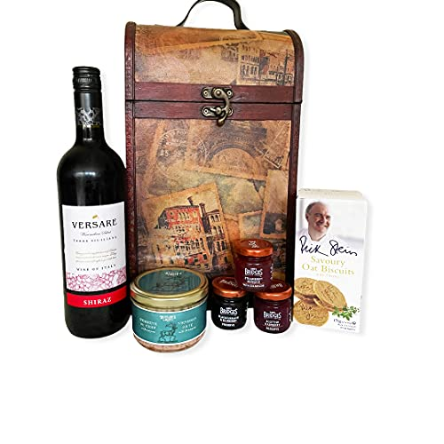 The Premium Clarendon Vintage Wooden Wine Chest Gift Food Hamper with 750ml Versare Red Wine - Gift ideas for Mum, Mothers Day, Dad, Fathers Day, Christmas hampers, Birthdays, Thank you, Anniversary, Corporate, Business gifts