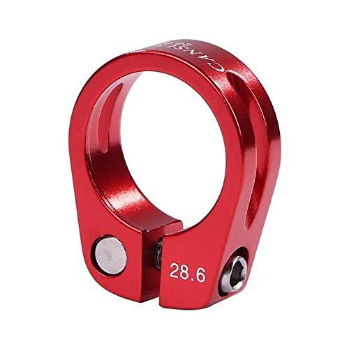 YKWYQ 2 abrazaderas de sillín de bicicleta de aluminio de 28,6/30 mm para sillín de bicicleta, abrazadera de tubo de MTB Mountain Road Bike (color: 28,6 mm rojo)
