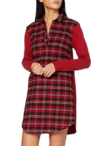 Skiny Damen Sleepshirt Langarm Nachthemd, red Check, 38