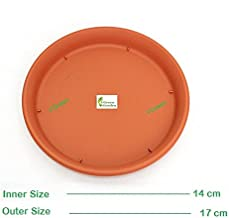 VGreen Garden Store Plastic Bottom Trays (Brown, 14cm) - Set of 5 Pieces