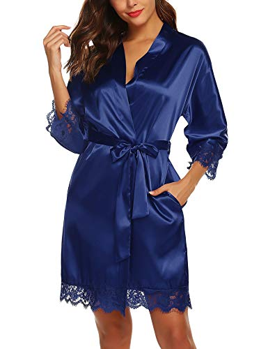 URRU Women's Satin Silk Bathrobe Oblique V-Neck Short Kimono Robe Bridesmaids Robe S-XXXL