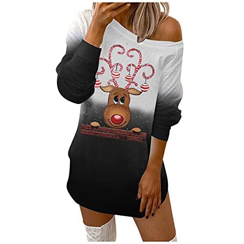 BIKETAFUWY Christmas Partykleid Damen Weihnachtskleid Langarm Schulterfrei Minikleid Blusenkleider Elch Schneeflocke Druck Casual Pulloverkleid Party Kleid Off-Shoulder Sweatshirts Kleid