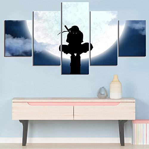 WTXZO Leinwanddrucke Uchiha Itachi Naruto Shippuuden 5 Stück Drucke Gemälde Wohnzimmer Poster Wandkunst Wohnkultur Größe A (kein Rahmen)