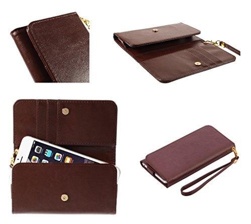 DFVmobile - Etui Tasche Schutzhülle aus Kunstleder Pferden-Leder-Mappen-Kasten mit Kartenfächer für JIAYU G2F - Braun