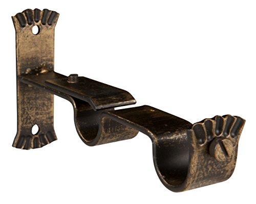 Riel Chyc 5432016 Support Double Forge Ø28 Noir/doradi (Blister 1 pièces)