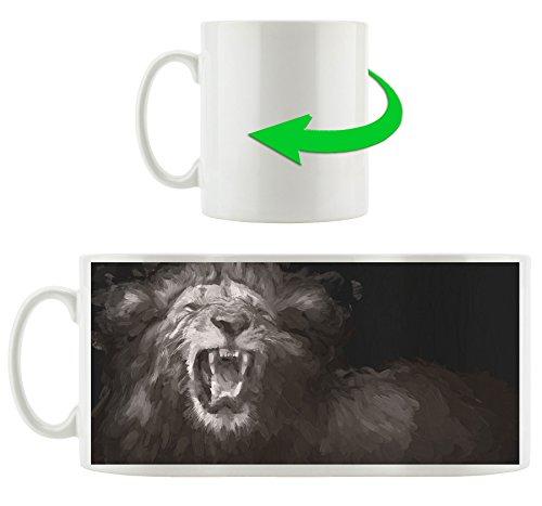 Brüllender Löwe schwarz weiß, Motivtasse aus weißem Keramik 300ml, Tolle Geschenkidee zu jedem Anlass. Ihr neuer Lieblingsbecher für Kaffe, Tee und Heißgetränke.