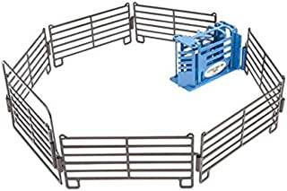 Little Buster Toys 1/16 Calf Roping Arena Set (Blue Calf Chute, 8 Priefert Fence Panels & Gate)