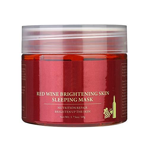 Idalinya Sleeping Facial Mask, 50g Rotwein-Gesichtsmaske Whitening Moisture Cream Night Erhellen Gesichtspflege