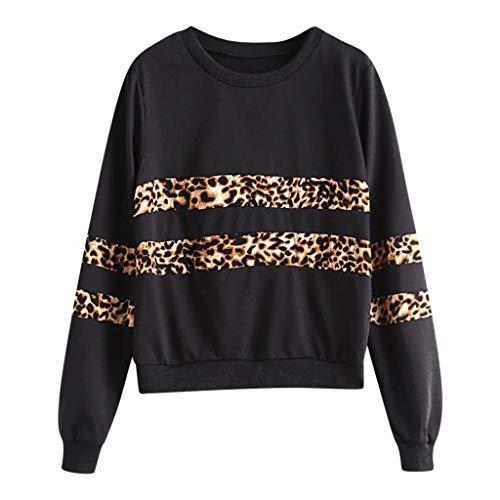 College Teens Jugend Mädchen Winter Oberteile Sweatshirt Damen Frauen Leopard Patchwork Colorblock Pullover Oberteil Trend Mode Streetwear Sportwear T Shirts Langarm Freizeit Tops