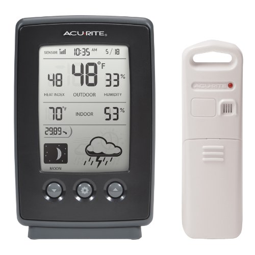 AcuRite 00829 Digital Weather Station with Forecast/Temperature/Clock/Moon Phase,Black