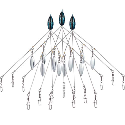 Bassdash Rigs Castable Umbrella Fishing Rig 0.63oz 7.48in with 5 Arms and 4 Willow Blades for Fishing Bass Bluefish Lures, 3-Pack