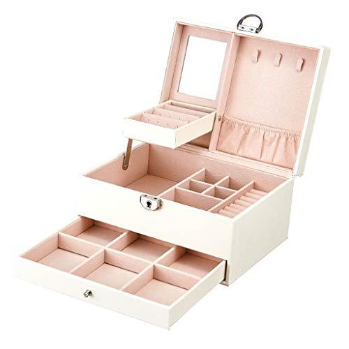 Waart juwelendoosje voor vrouwen, personaliseerbaar, leren sieradenorganizer met afneembare divider-opbergdoos, ingebouwde spiegel met sluiting