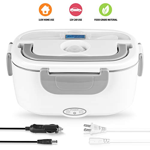 Electric Lunch Box 2 in 1, Electric Lunch Box Food Heater Car and Home Use Portable Lunch Heater 110V & 12V 40W - Stainless Steel Portable Food Warmer