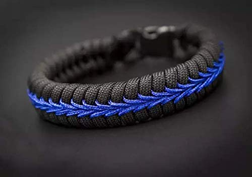 Thin Blue Line Paracord Bracelet Gift Set Includes Silicone Ring and American Flag Decal Emblem For Police Support Water Resistant Tactical Accessories
