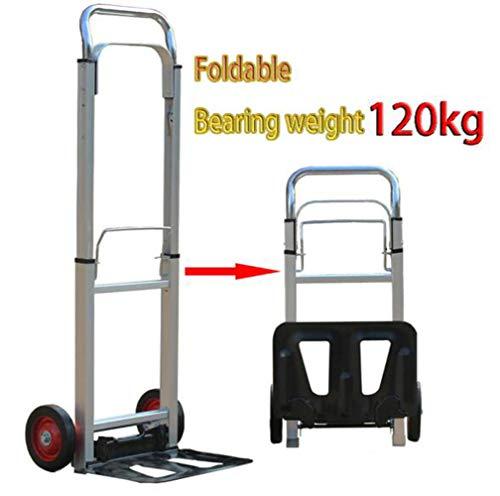 SHUSHI Carretilla Plegable Carro de Compras Carrito de Transporte Regulable en Altura Rueda de Goma Capacidad de 120 kg, Ideal para Las Compras y Campamento/A