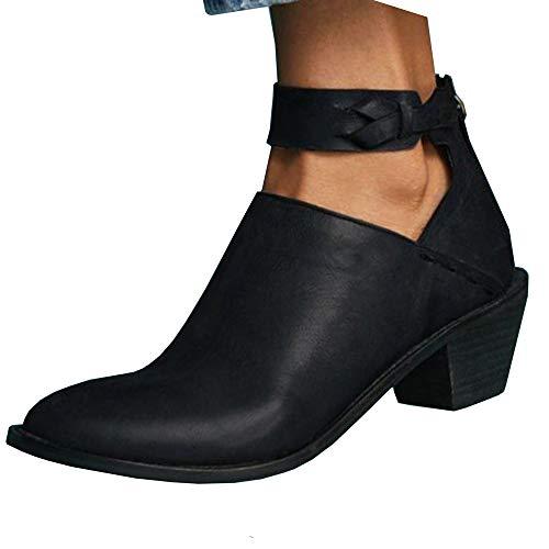 DunaCuna Botas de tacón Grueso para Mujer Botines de Moda con Punta Redonda Botines con Cremallera Trasera Botas Chelsea de Mujer Negro 43 asiático