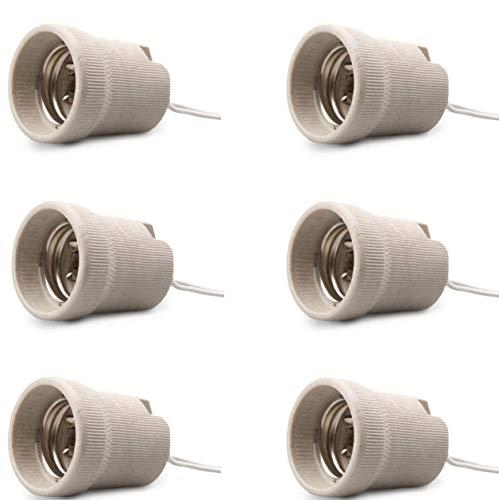 E27Leuchtmittel-Fassung, 6erPack, Keramik, Edison-Schraube, E27Lampenfassungen für LED- und Standard-Lampen