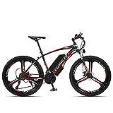 Bicicleta de montaña eléctrica de litio, 26 pulgadas, 21 velocidades, 36 V, vehículo eléctrico para adultos, color negro, rojo, 26 pulgadas, 21 velocidades, 36 V, 13 A, varios colores