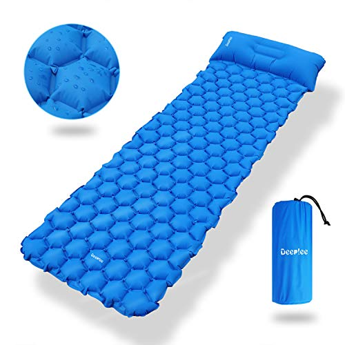 Deeplee Camping Isomatte,Einzelne Schlafmatte Ultraleichte Isomatte für Outdoor,Feuchtigkeitsfes für Wandern,Backpacking,Camping,Strand(Blau)