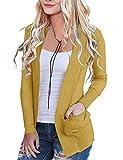 MEROKEETY Women's Open Front Casual Knit Cardigan Classic Long Sleeve Sweater Coat, Mustard, S