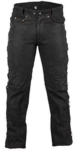 Biker Lederhose in Nubuk Leder schwarz, Lederhose seitlich geschnürt, Rocker Lederhose, Bikerjeans, Lederjeans (34)