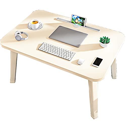 LJFYXZ Mesa de Ordenador Mesa de Cama Mesa pequeña del Dormitorio Mesa Plegable Escritorio de Soporte de Lectura con Ranura para Taza Blanco 60x40x32cm