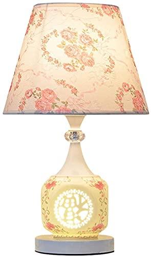Lámpara de mesa asiática tradicional china lámpara de mesa de mesa lámpara de mesa lámpara poste posterior al lado de la cama lámpara flor patrón impresión lampshade led escritorio (color: a) QIQIDEDI