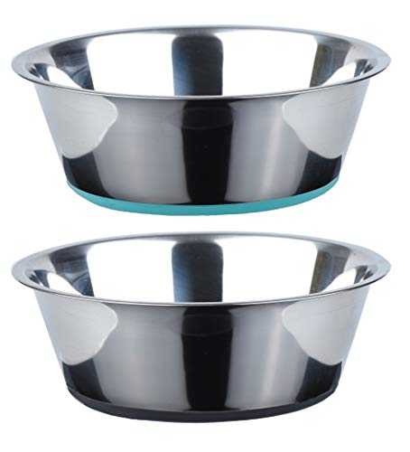 PEGGY11 No Spill Non-Skid Stainless Steel Deep Dog Bowls 66 Oz (8 Cups) Set of 2