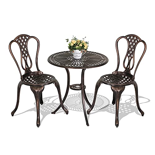 JOIVI 3 Piece Patio Bistro Set, Cast Aluminum Outdoor Conversation Set, Garden Table and Chairs with Umbrella Hole for Backyard, Lattice Design Antique Bronze