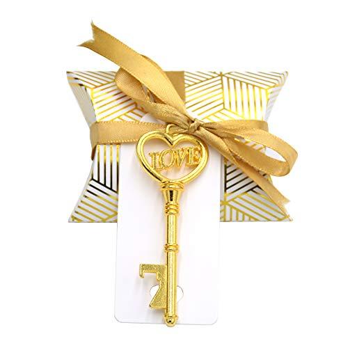 Makhry 50 Pezzi a Forma di Cuore con Love Apribottiglie Chiave Vintage Bomboniera Set Regalo Souvenir con Etichetta Grazie e Nastro di Seta (Antico Oro)