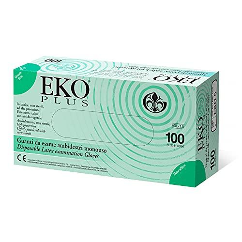 AIESI® Einweg-Latex handschuhe mit pulver für medizinische zwecke DOCTOR GLOVES (Packung mit 100 stück) Konform mit vorschriften EN420 EN374 EN455 größe S