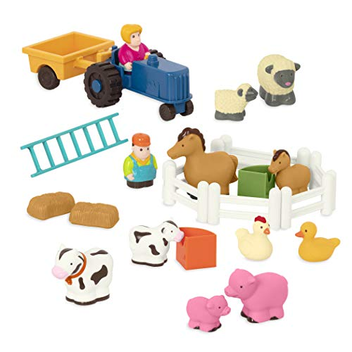 Battat – Farm Animals Play Set – 25 Farm Toys for Toddlers – Animals, Fences, Farmers, Tractor, Trailer & More – Little Farmer's Playset – 18 Months +
