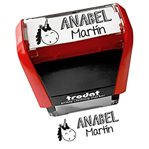 Sello Marcador Ropa Niños Personalizado, Marcador Ropa y Libros, Marcador Trodat 4911 TEX, Elige entre 18 diseños personalizables