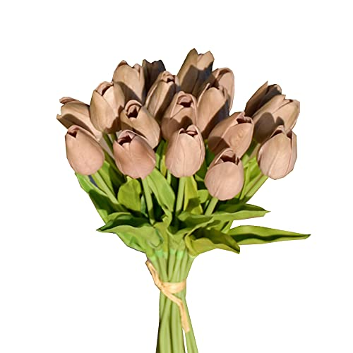 """Mandy's 20pcs Coffee Brown Artificial Tulip Silk Flowers 13.5"""" for Home Kitchen Wedding Decorations"""