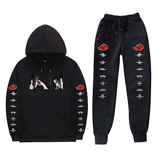 SAFTYBAY Naruto Hoodies and Sweatpants Uchiha Sasuke Itachi Suit Mens Womens Anime Hooded Sweatshirts Tracksuits (Black,XL)