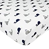 American Baby Company Printed 100% Cotton Jersey Knit Fitted Crib Sheet for Standard Crib & Toddler Mattresses, Navy Whale, for Boys & Girls