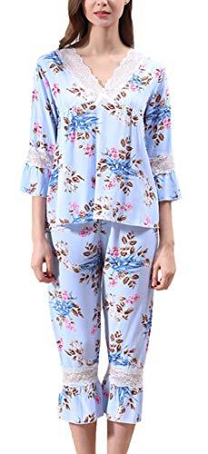 Pijama -Set Mujer Primavera Verano Mangas Clásico 3/4 con Encaje V Cuello Ropa para El Hogar Sleepwear Hipster In Formales Respirable Pijamas Mujer Pantalones De Pijama Chicos